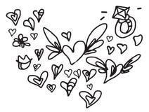 Garabato del amor de la tarjeta del día de San Valentín fijado con las alas Fotos de archivo