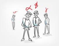 Garabato del bosquejo del ejemplo del vector del trabajo en equipo del concepto de la psicología de la jerarquía del grupo ilustración del vector