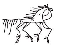 garabato del caballo estilizado en estilo ruso tradicional Imagenes de archivo