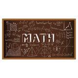 Garabato del consejo escolar con fórmulas y gráficos encendido Fotos de archivo