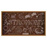 Garabato del consejo escolar con símbolos de la astronomía Vector Fotos de archivo libres de regalías