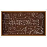 Garabato del consejo escolar con símbolos de la ciencia Vector Imágenes de archivo libres de regalías