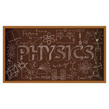 Garabato del consejo escolar con símbolos de la física Vector Imagen de archivo libre de regalías