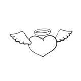 Garabato del corazón del ángel con las alas Foto de archivo libre de regalías