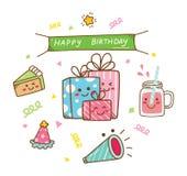 Garabato del cumpleaños del estilo de Kawaii aislado en el fondo blanco stock de ilustración