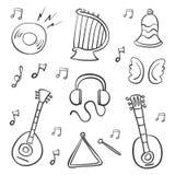Garabato del drenaje de la mano del objeto de la música