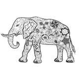 Garabato del elefante ilustración del vector