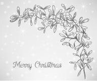 Garabato del muérdago de la Navidad Imagen de archivo libre de regalías