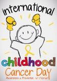 Garabato del muchacho con los guantes para el día internacional del cáncer de la niñez, ejemplo del vector Foto de archivo