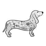 Garabato del perro basset ilustración del vector