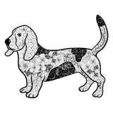 Garabato del perro de caza stock de ilustración