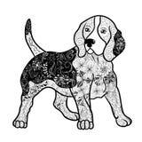Garabato del perro del beagle ilustración del vector