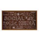 Garabato del tablero de tiza con los símbolos, medios sociales Fotos de archivo