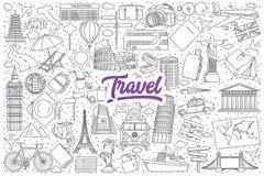 Garabato del viaje fijado con las letras púrpuras Imagen de archivo libre de regalías