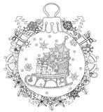 Garabato dibujado mano del árbol de abeto de la bola de cristal de la Navidad Imágenes de archivo libres de regalías