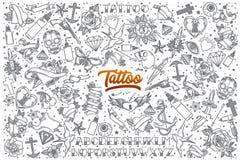 Garabato dibujado mano del tatuaje fijado con las letras Imagen de archivo libre de regalías