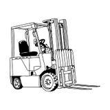 Garabato dibujado mano del vector del ejemplo de la carretilla elevadora aislado Foto de archivo libre de regalías