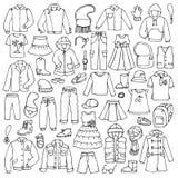 Garabato dibujado mano fijado con ropa infantil fotos de archivo libres de regalías