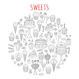 Garabato dibujado mano fijado dulces de los iconos del vector Imagenes de archivo