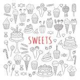 Garabato dibujado mano fijado dulces de los iconos del vector Imágenes de archivo libres de regalías