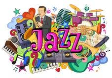 Garabato en el concepto de Jazz Music stock de ilustración