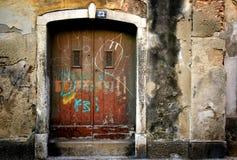 Garabato en puertas viejas Fotografía de archivo libre de regalías