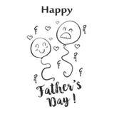 Garabato feliz del drenaje de la mano del día de padre stock de ilustración