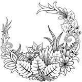 Garabato floral Zentangl del ejemplo del vector Ejercicios meditativos Tensi?n anti del libro de colorear libre illustration