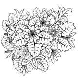Garabato floral Zentangl del ejemplo del vector Ejercicios meditativos Tensi?n anti del libro de colorear stock de ilustración