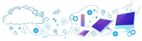 Garabato horizontal conectado dispositivos computacional del bosquejo del almacenamiento de datos de la red de la sincronización  libre illustration