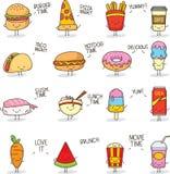 Garabato lindo Kawaii de la comida stock de ilustración