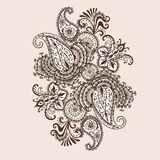 Garabato a mano de Henna Mehndi Abstract Mandala Flowers y de Paisley Libre Illustration