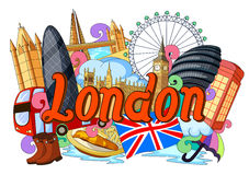 Garabato que muestra arquitectura y la cultura de Londres stock de ilustración