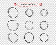 Garabato redondo negro exhausto de la mano del vector de líneas Selección de notas de los elementos, bosquejo Burbuja del mensaje stock de ilustración