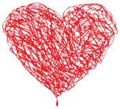 Garabato rojo del corazón ilustración del vector