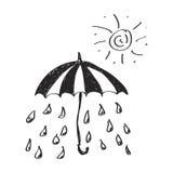 Garabato simple de la lluvia debajo de un paraguas Foto de archivo