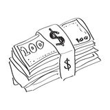 Garabato simple de un taco de billetes de banco Fotos de archivo