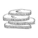 Garabato simple de una pila de monedas Fotografía de archivo libre de regalías