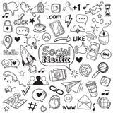 Garabato social de los medios Garabatos de la página web de Internet, comunicación social de la red y sistema exhausto de los ico stock de ilustración