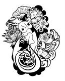 Garabato y línea estilo del tatuaje de Koi Carp Japanese del arte stock de ilustración