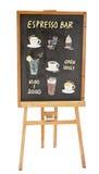 Garabatos coloreados bebidas en tablero del menú Imagen de archivo