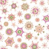 Garabatos coloridos dibujados mano de los copos de nieve Imágenes de archivo libres de regalías