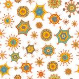 Garabatos coloridos dibujados mano de los copos de nieve Imagen de archivo
