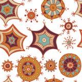 Garabatos coloridos dibujados mano de los copos de nieve Fotografía de archivo libre de regalías