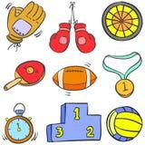 Garabatos comunes del equipo de deporte de la colección stock de ilustración