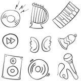 Garabatos comunes del objeto de la música de la colección stock de ilustración