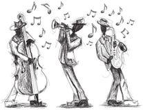 Garabatos de la banda de jazz Foto de archivo