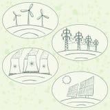 Garabatos de la energía de la central eléctrica Imagen de archivo