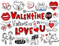 Garabatos de la tarjeta del día de San Valentín Imágenes de archivo libres de regalías