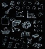 Garabatos de las compras del mercado empresarial en pizarra Foto de archivo libre de regalías